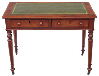 Antique Victorian mahogany leather desk writing table 2 drawer dressing