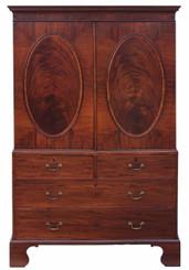 Antique quality Georgian Hepplewhite mahogany armoire wardrobe linen press