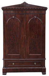 Antique quality tall William IV mahogany armoire wardrobe linen press