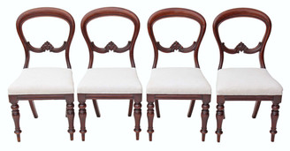 Antique set of 4 Victorian balloon back mahogany dining chairs