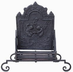 Antique very large forged cast iron steel fire back grate basket with dogs