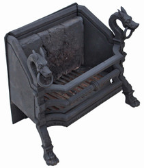 Antique large forged cast iron steel fire back grate basket with dragons