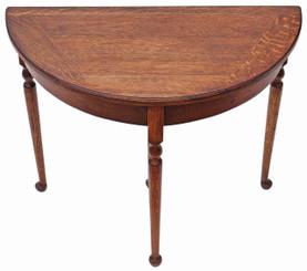 Antique Georgian revival oak folding card tea console table demi-lune