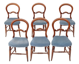Antique set of 6 beech Victorian dining chairs balloon back kitchen