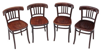 Antique set of 4 bentwood kitchen dining chairs