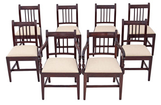Antique rare set of 8 ( 6 + 2 ) Georgian mahogany dining chairs