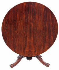 Antique quality Victorian 19C rosewood loo breakfast centre table tilt top
