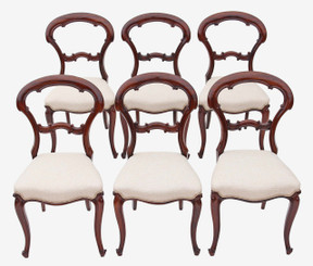 Antique rare quality set of 6 Victorian rosewood dining chairs balloon back