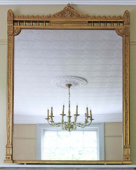 Antique large quality Victorian 19th Century gilt wall mirror overmantle