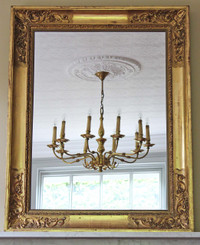 Antique quality Victorian gilt wall mirror overmantle large