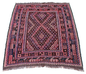 Antique large Kelim floral hand woven wool rug ~ 7' x 9'6""