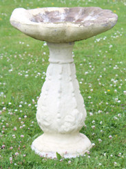 Antique weathered large patinated faux stone concrete bird bath