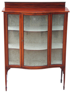 Antique Edwardian inlaid mahogany glazed display cabinet serpentine front