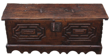 Antique 17th Century Spanish chestnut chest coffer blanket box coffee table