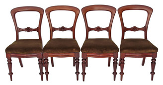 Antique set of 4 Victorian mahogany 19C balloon back dining chairs