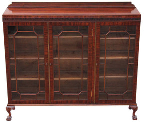 Antique quality mahogany astral glazed bookcase display cabinet shelves