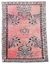 "Antique large Persian hand woven wool rug ~ 4'6"" x 6'10"""