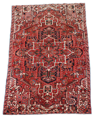 """Antique large quality Persian Herez hand woven wool rug ~ 5'3"""" x 9'10"""