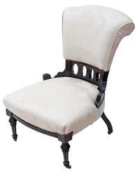 Antique 19C Victorian ebonised aesthetic armchair ladies chair