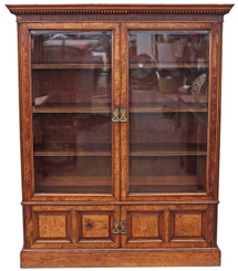 Antique large Victorian pollard oak glazed bookcase display cabinet cupboard
