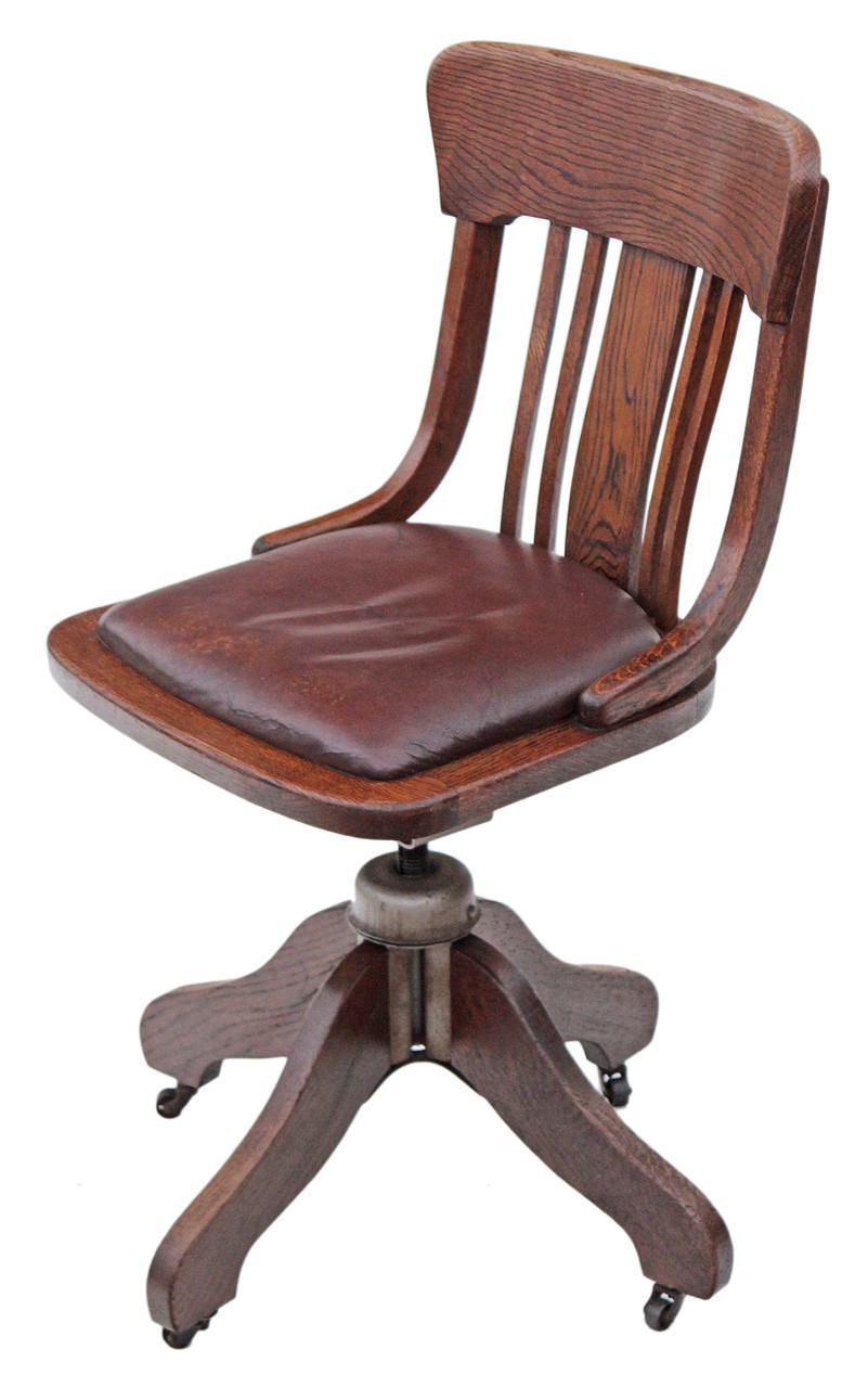 Picture of: Antique Oak And Leather Desk Office Swivel Chair Prior Willis Antiques
