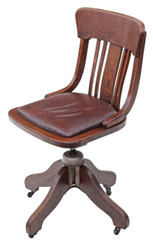 Antique oak and leather desk office swivel chair