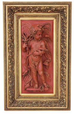 Antique large statue work of art angel plaque relief sculpture