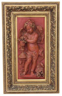 Antique large relief sculpture statue work of art angel plaque