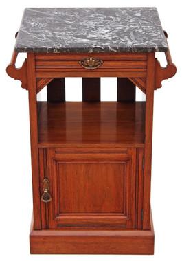 Antique Victorian C1900 walnut marble bedside table cupboard cabinet