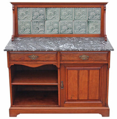 Antique Victorian C1900 walnut marble washstand side or dressing table
