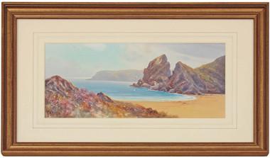 Antique watercolour painting Bedruthan Steps Cornwall Hicks Herbert William