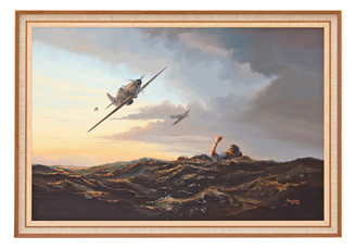 Quality large oil painting Chris Golds 1984 Hurricane Tom Dalton-Morgan RAF