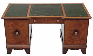 Antique large Victorian C1880 walnut oak twin pedestal desk writing table