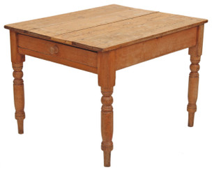 Antique Victorian rustic scrub top pine kitchen dining table with drawer