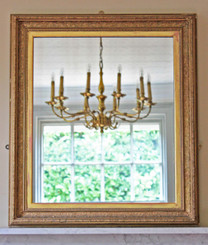 Antique 19C Victorian gilt framed wall mirror overmantle