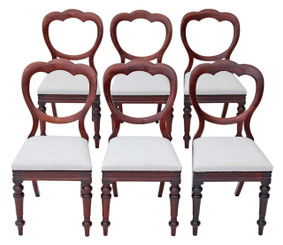 Antique set of 6 Victorian mahogany cloud balloon back dining chairs