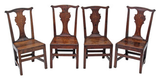 Antique set of 4 Georgian 18th Century elm country dining chairs