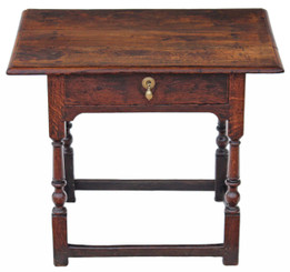 Antique small Georgian 18C and later oak writing side table lowboy