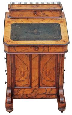 Antique quality Victorian inlaid burr walnut davenport writing table desk