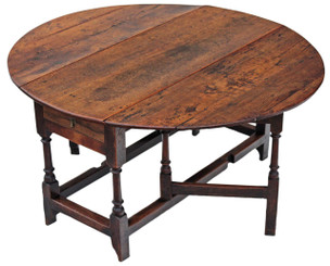 Antique large Georgian oak elm gateleg drop leaf dining table ~ 4'10 x 4'6