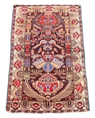 Antique Persian hand woven wool rug carpet brown and cream ~5'x3'