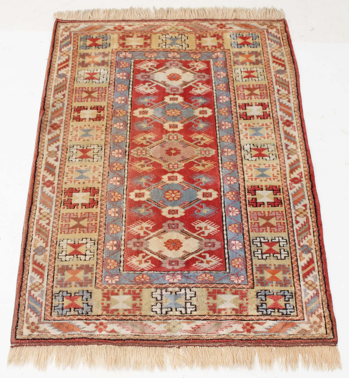 Antique Large Hand Woven Wool Rug Cream And Terracotta 4