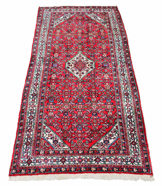 Antique large Persian Hamadan hand woven wool rug carpet red ~ 5' x 12'