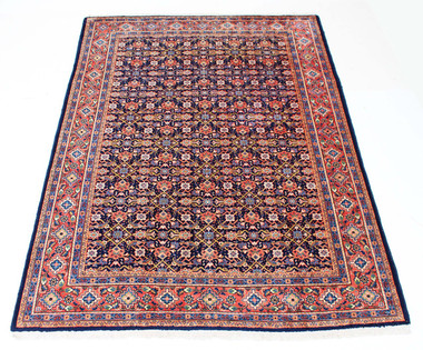 "Antique large Persian hand woven wool rug carpet blue terracotta ~7'4"" x 10'"