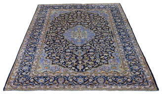 "Antique very large quality Persian hand woven wool rug blue green ~12'6""x9'"