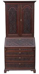 Antique quality Georgian carved oak bureau bookcase desk writing table