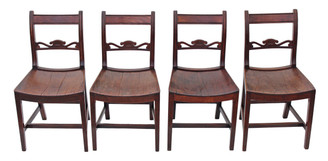 Antique set of 4 Georgian Regency mahogany and fruitwood dining chairs