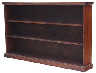 Antique large Victorian oak open bookcase shelves display