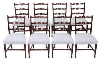 Antique set of 8 mahogany Georgian Revival dining chairs