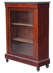 Antique Victorian walnut glazed aesthetic pier display cabinet bookcase